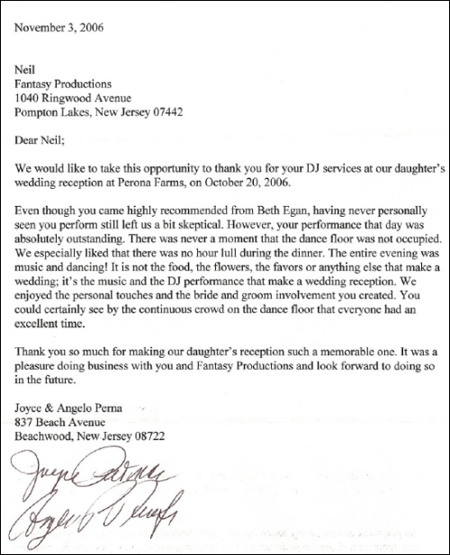 october 2006 reception letter